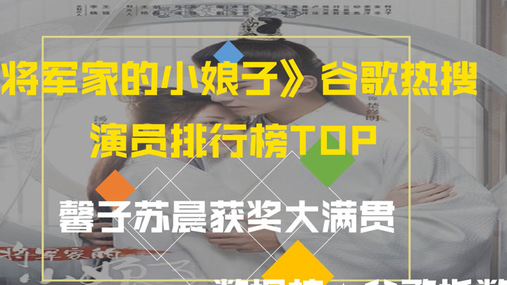 《將軍家的小娘子》谷歌熱搜榜,馨子蘇晨獲獎大滿貫,排名你認可么?萌新不做標題黨!