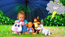 Nastya looks for toys that got hit by thunderstorm